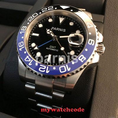 40mm PARNIS black dial luminous ceramic bezel Sapphire Glass Automatic men watch Black Dial Ceramic Bezel