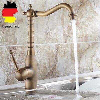Retro Bronze Einhebel Wasserhahn Waschbecken Küche Bad Armatur Mischbatterie DE Bronze Wasserhahn