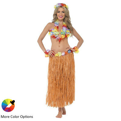 Women's Hawaiian Grass Dress Hula Skirt Flowers Party Halloween Costume Beach
