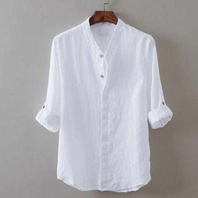 Jungen Leinen Hemd (Hemden Frühling Herren jungen Leinen Sommer Tops Casual Shirt atmungsaktiv Neu)
