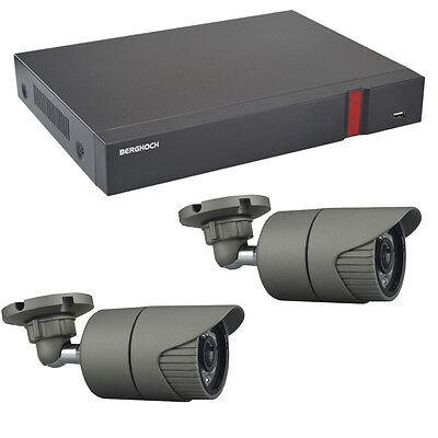 Videoüberwachung Set HD 1080p POE 2x Aussen Überwachungskamera + 2 TB Festplatte