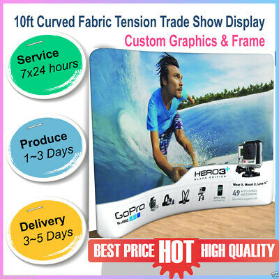 10ft Portable Curved Trade Show Display Pop Up Stand Back Wall With Custom Print