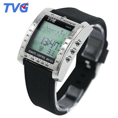 Tvg Men Sports Square Dial Silicone Strap Led Digital Watches Tv Remote Control
