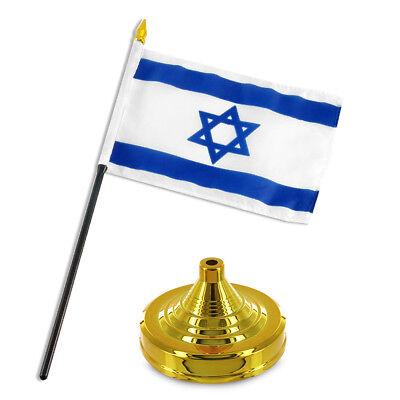 """Israel Star Flag 4""""x6"""" Desk Set Table Stick Gold Base"""
