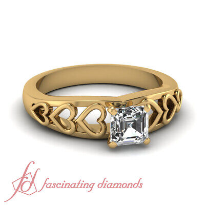 Yellow gold Cheap Natural Asscher cut Diamond Promise Rings GIA ring size 4-10