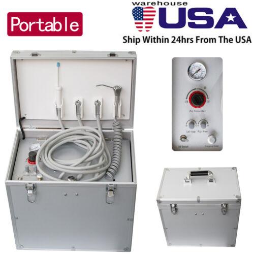 Portable Dental Turbine Unit Air Compressor +Suction System+Triplex Syringe USA