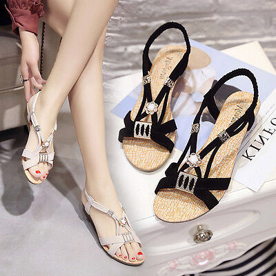 Women Wedges Shoes Wedges Beaded Fish With Slipper Sandals Peep-Toe Shoes