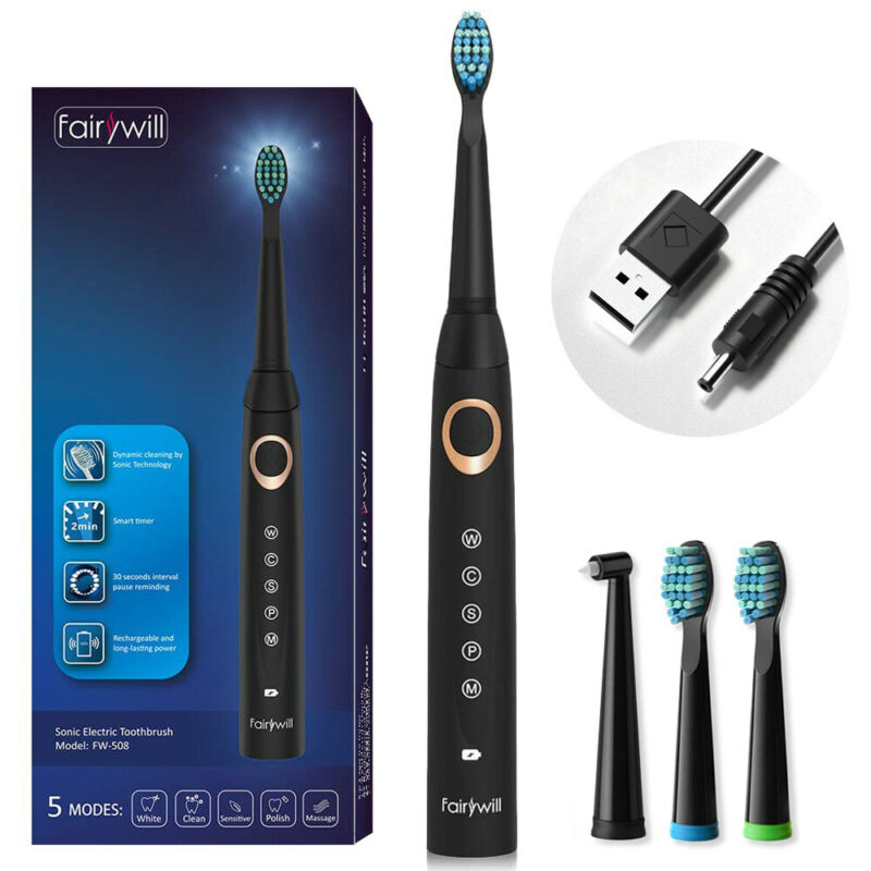 Fairywill Electric Toothbrush Powerful Sonic Clean 5 Modes DuPont Adults & Kids
