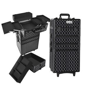 7 in 1 Professional Portable Beauty Make up Cosmetic Trolley Case Diamond Black
