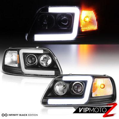 97-03 Ford F150 [Neon Tube LED DRL U-Bar] Black Projector Headlight Signal Lamp