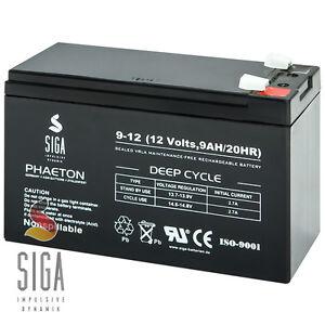 Blei GEL Akku 9AH 12V AGM Batterie ersetzt 7Ah 9,5Ah 10Ah 12Volt ZYKLENFEST