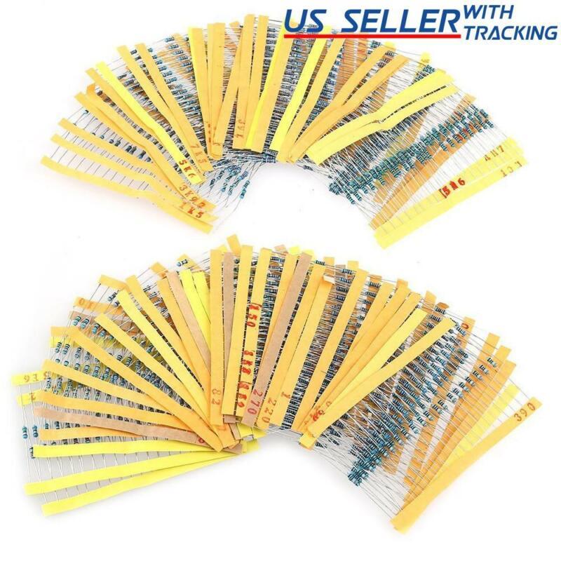 600 Pack 1/4W 1% Metal Film Resistors Assortment Pack 30 Values (10 Ω  - 1M Ohm)