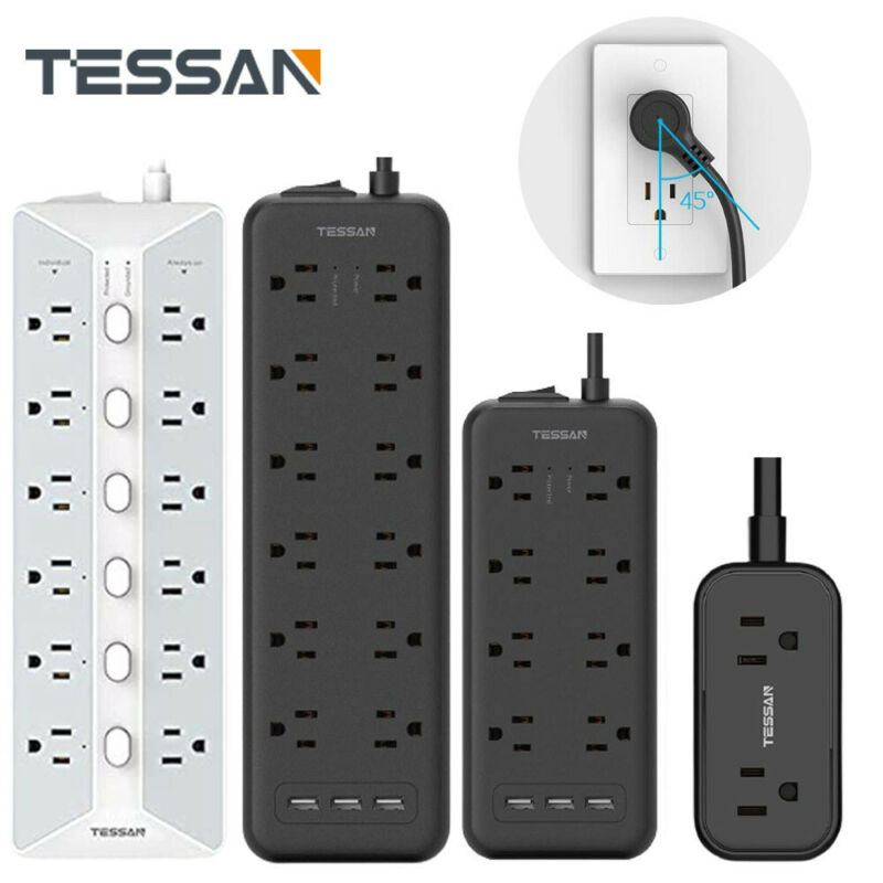Multi Outlets Surge Protector Power Strip With 3 USB+Flat Plug Extension Cord