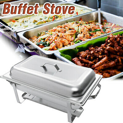 3Plate Chafing Dish Tray Buffet Stove Caterer Food Warmer Stainless Steel Dinner