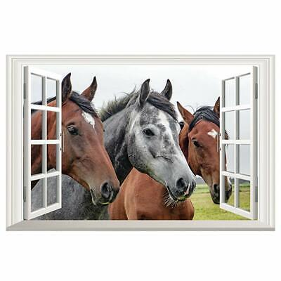 Faux Window Wall - DNVEN 3D Horse Wall Stickers Faux Window Horse Wall Decals Arts for Kids Room