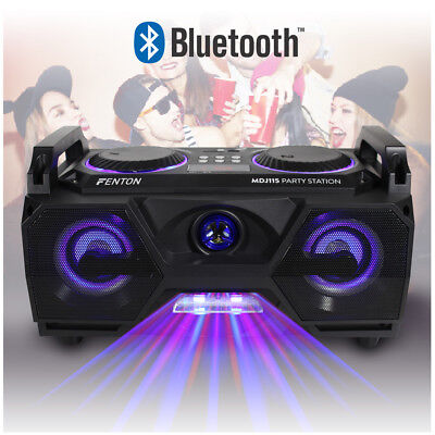 Stereo Speaker Ghetto Boombox Megasound Hi-Fi Bluetooth USB & Disco Party Lights