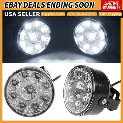 Pair 9 LED Work Lights Car SUV Flood Spot Beam Driving Fog OffRoad DRL Lamps USA