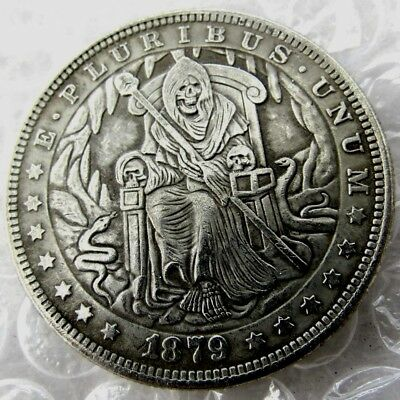 US Hobo 1879 Morgan Dollar Skull Zombie Skeleton King Creative Coin