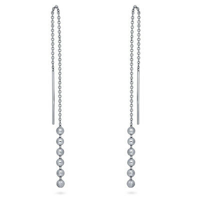 BERRICLE Sterling Silver Ball Bead Fashion Threader Earrings