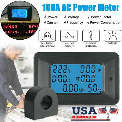 100a Digital Lcd Volt Amp Watt Meter Monitor Ammeter Voltmeter Ac 110-250v Usa