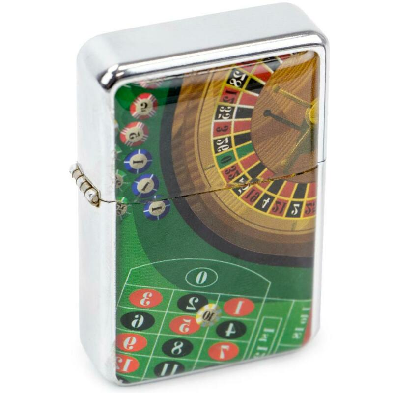 Roulette Casino Design Metallic Flip-Top Lighter