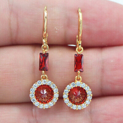 18K Yellow Gold Filled Women Red Topaz Zircon Round Circle Dangle Earrings