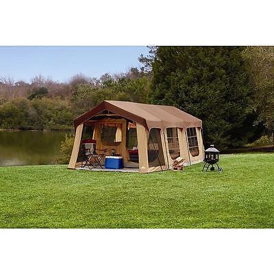 20X10' NEW Camping Brown Instant Family Cabin 2 Room Large Sealed 10 person TENT