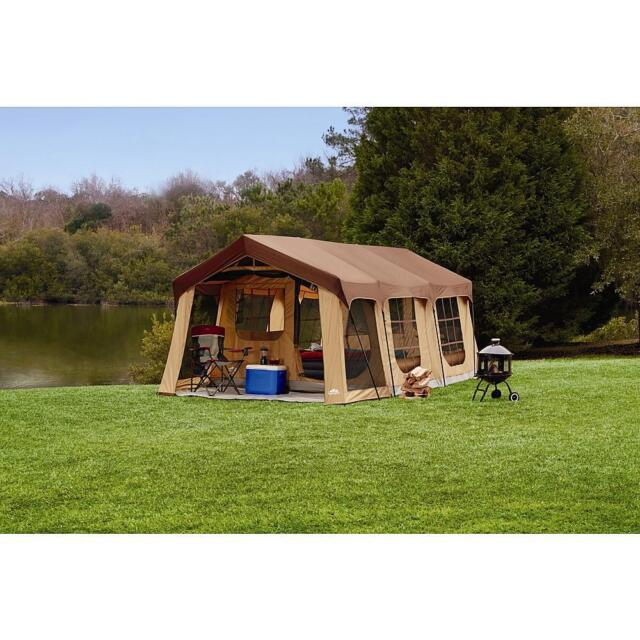 20X10 NEW Camping Brown Instant Family Cabin 2 Room Large Sealed 10 Person TENT