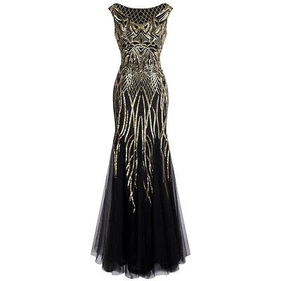 Angel-fashion Pattern Sequin Bateau Cap Sleeve Flapper Mermaid Evening Dress 377 ()