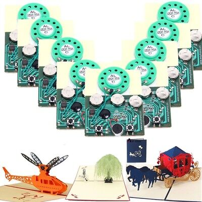 10pc 30s Recordable Voice Module Key Button Control Music Box Chip for Xmas Card ()