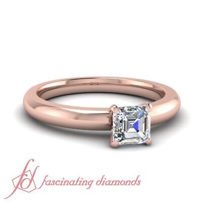 Comfort Fit Classic 4 Prong 1/2 Carat Rose Gold Engagement Rings GIA VS1-F Color