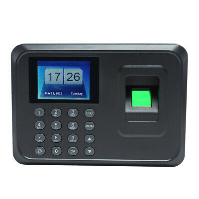 Lcd Fingerprint Attendance Machine Time Clock Employee Checking-in Reader W8p7