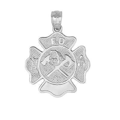 Sterling Silver FIRE FIGHTERS BADGE Pendant / Charm, Made in USA   - Firefighter Badge Charm