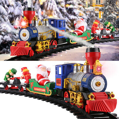 Large Under Tree Christmas Toy Train Round Track Set With Sound Smoke Kid Gift