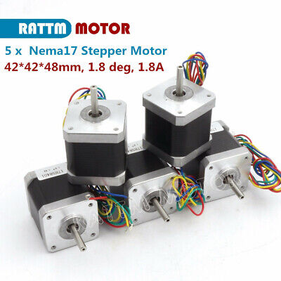 5pcs Nema17 L-48mm Cnc Stepper Motor 78oz-in1.8a Stepping Motor Router Milling
