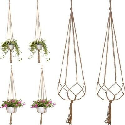 2X Vintage Macrame Plant Hanger Flower Pot Holder Hanging Basket Rope Wall Art