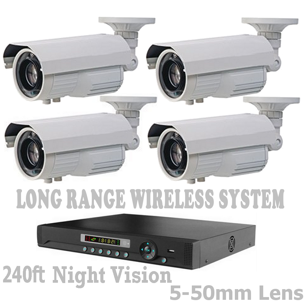 Security Camera Long Range/Distance Wireless Up To 6,500 Feet CCTV System + DVR