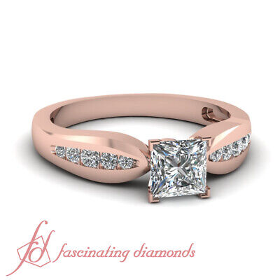 3/4 Carat Princess Cut Simple Channel Set Diamond Rings With Round Accents GIA