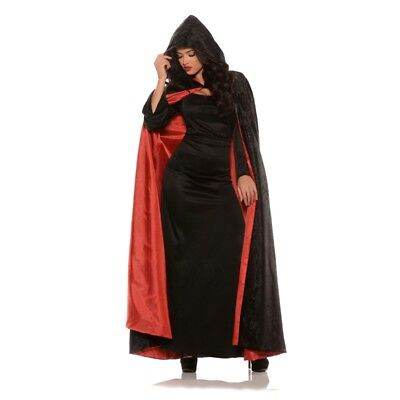 Hooded Black Velvet Cape with Red or Purple Lining Adult Medieval - Black Cape With Red Lining