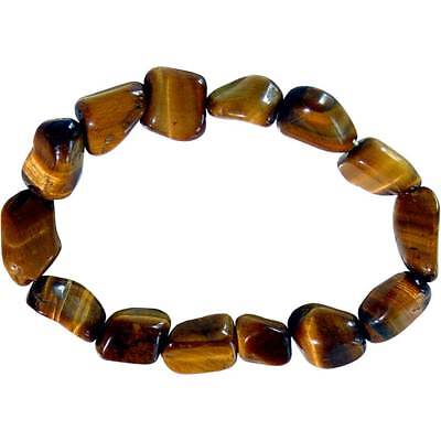 - NEW Tiger's Eye Tumbled Real Gemstone Bracelet Stretchy Natural Stone One Size