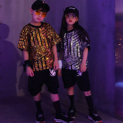 New Fashion Sequin Ballroom Modern Jazz Hip Hop Dance Costumes for Kid - Costumes For Hip Hop