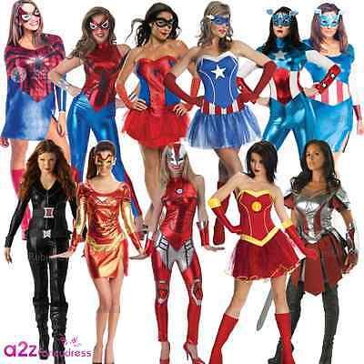 LADIES AVENGERS MARVEL SUPERHERO WOMEN HEROINE ADULT FANCY DRESS COSTUME OUTFIT - Woman Avenger Costumes