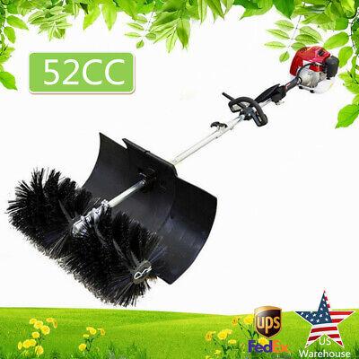 52cc 2.3hp Gas Power Brush Sweep Broom Driveway Turf Lawn Handheld Power Sweeper