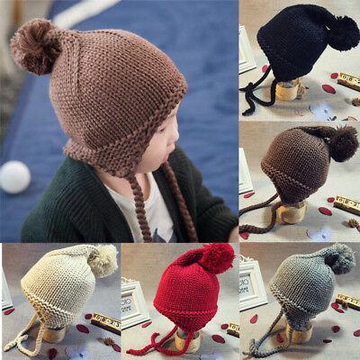 Baby Toddler Kids Boy Girl Knitted Crochet Beanie Hat Winter Warm Earflap Cap