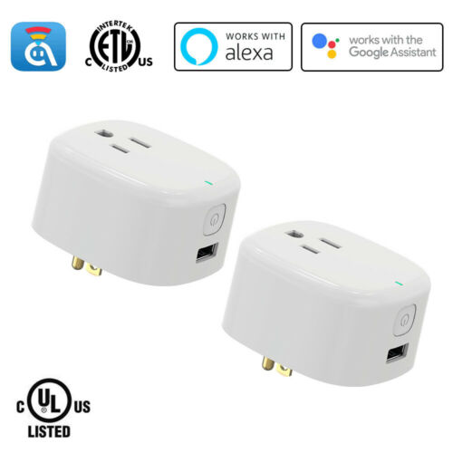 2-Pack WiFi Smart Plug with USB, Work with Alexa/Google Assistant/IFTTT, No Hub
