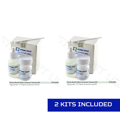 2 Prime Dent Permanent Dental Glass Ionomer Luting Cement Kit For Crowns 010-020