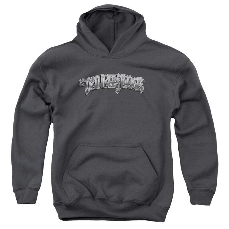 Three Stooges Kids Hoodie Metallic Logo Charcoal Hoody
