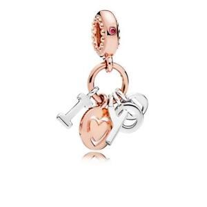 Genuine Pandora Rose Gold I Love You Heart Dangle Charm Bead - 786596CZ