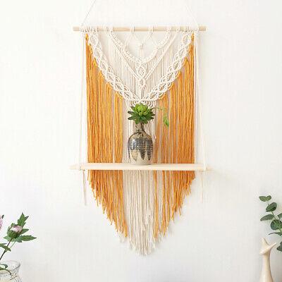 Boho Macrame Woven Wood Shelf Tapestry Tassel Wall Floating Hanging Art Decor