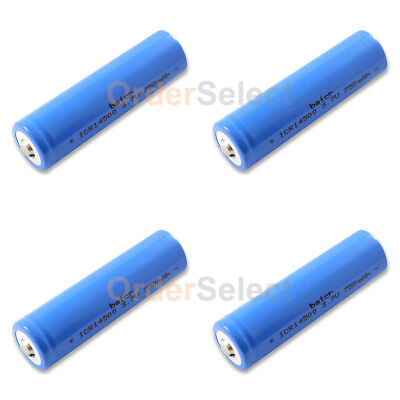 4X NEW Battery ICR Rechargeable 3.7V 750mAh LiFePO4 14500 Solar Lights Mod Vape